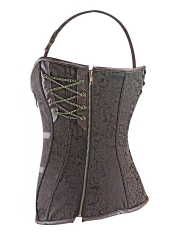 Gothic Steel Boned Steampunk Overbust Corsets Tops With Zip