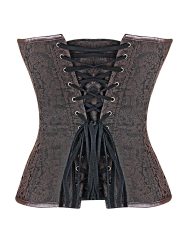 Brown Leather Bustier Gothic Steampunk Overbust Corset Tops