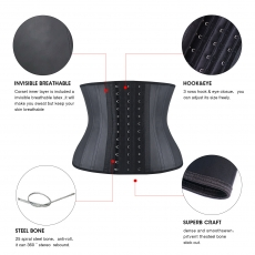 Women 25 Steel Boned Short Torso Latex Waist Trainer Corsets