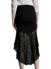 Gothic Elastic High Low Lace Mermaid Maxi Steampunk Skirts