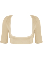 Woolen Short Sleeve Crop Tops Back Support Arm Body Shaper