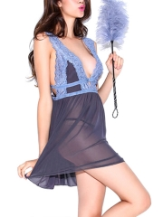 Deep V Transparent Backless Babydolls Sleepwear Lingerie