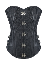 Plus Size Jacquard Gothic Steampunk Overbust Corset Tops