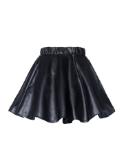 Retro Women Faux Leather Flared Mini Skater Steampunk Skirts