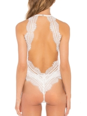 Deep V Halter Teddies Transparent Lace Backless Lingerie