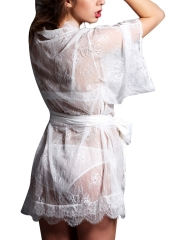 Transparent Mesh Gowns Robes See Through Lingerie Sleepwear