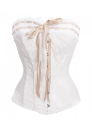 Plus Size 10 Steel Boned Bustier Bridal Overbust Corset Tops