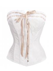 Plus Size 10 Steel Boned Bustier Bridal Overbust Corset Tops