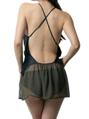 Womens Halter Backless Nightgowns See Through Lace Sleepwear