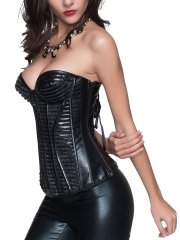 Black Faux Leather Bustier Steampunk Overbust Corset Tops