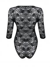 Black Long Sleeve Transparent Lace Teddies Lingerie Bodysuit