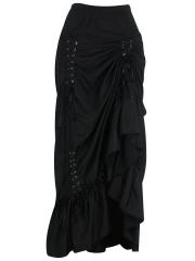 Black Three Tiered Satin Gothic Steampunk Skirts Costumes
