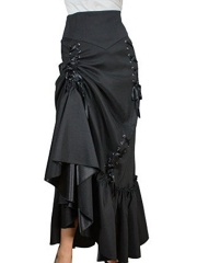 Black Three Tiered Satin Gothic Steampunk Skirts Costumes