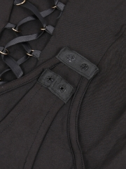 Charming Lace Up V Neck Sleeveless Lingerie Bodysuit Teddies