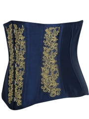 Short Torso Satin Embroidery Waist Training Corsets Cincher