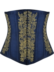 Short Torso Satin Embroidery Waist Training Corsets Cincher