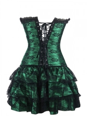 Elegant Lace Steampunk Overbust Corset Dress Costume Sets