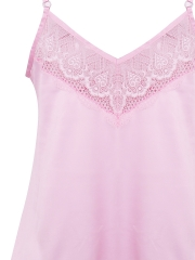 Women Sleepwear Satin Camisole Lace Cami Pajamas Sets