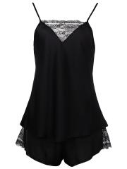 Women Deep V Lace Camisole Satin Pajamas Short Set Sleepwear