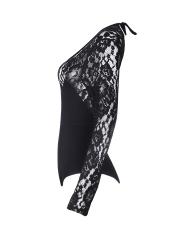 Long Sleeve Backless Bodysuits Floral Lace Lingerie Teddies