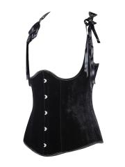 Black Velvet Underbust Straps Waist Trainer Corsets Vest