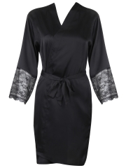 Long Sleeve Lace Kimono Cheap Sleepwear Satin Robe For Women