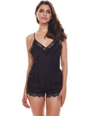 Sheer Lace Romper Deep V Neck Teddies Lingerie Sleepwear