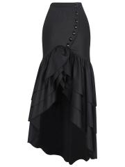 Victorian Gothic Steampunk Women Costume Show Elastic Skirts