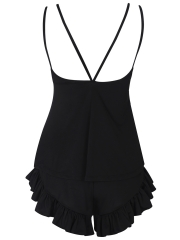 Black Elastic Sleeveless Sleepwear Pajamas Shorts Sets