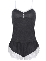 Women Cotton Sleeveless Pajamas Sets Lace Camisole Sleepwear