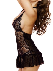 Deep V Chemises See Through Lace Babydolls Lingerie Dress
