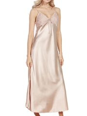 V-neck Lace Nightdress Faux Silk Maxi Nightgowns Sleepwear