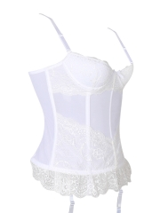 See Through Mesh Overbust Lace Bridal Corset n Bustier Tops