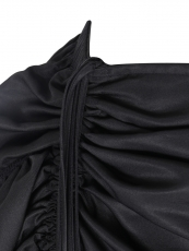 Black Satin Gothic Victorian Maxi Steampunk Skirts Costumes