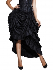 Black Satin Gothic Victorian Maxi Steampunk Skirts Costumes