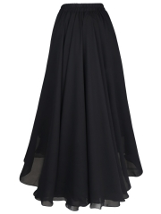 Vintage Chiffon Retro Elastic Pleated Long Maxi Skirts