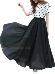 Vintage Chiffon Retro Elastic Pleated Long Maxi Skirts