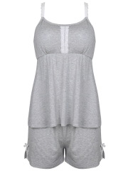 Comfortable Lace Tank Sleeveless Cotton Pajamas Short Sets