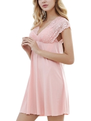 Deep V Lace Chemise Sleeveless Stretch Nightgowns Sleepwear