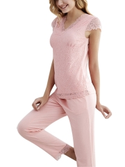 Women Modal Sexy Sleepwear Sleeveless Lace Long Pajamas Sets