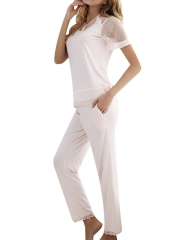 Women Short Sleeve Lace Pajamas Sets Pants Modal Sleepwear