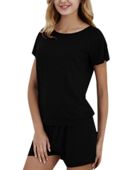 Modal Cotton Sleepwear Short Sleeve Pajama Sets For Women