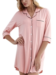 Women Sleepwear Short Sleeve Boyfriend Sleepshirts Nightgown