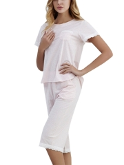 Women Modal Sleepwear Summer Loungewear Pajama Set Pants