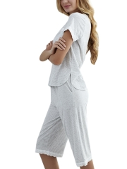 Women Modal Sleepwear Summer Loungewear Pajama Set Pants