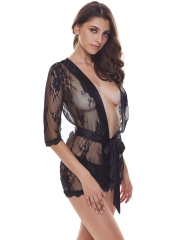 See Through Lace Kimono Nightdress Sexy Robes Lingerie