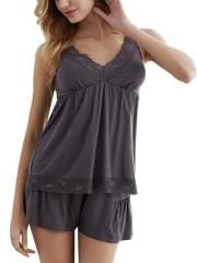 Womens Cotton Modal Sleepwear Short Sleeve Lace Pajama Sets
