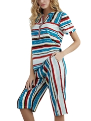 Summer Stripe Women Sleepwear Short Sleeve Pajamas Sets