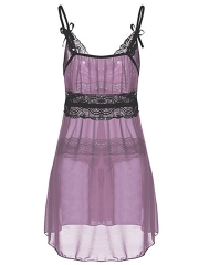 Plus Size Sheer Lace Babydolls Mesh Chemises Lingerie Set