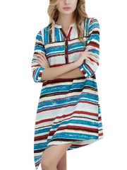 Women Short Sleeve Sleepshirts Stripe Nightgowns Sleepwear